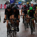 Wet riders including Dani King and Jolien D'Hoore, Ride London Classique cycling 2017