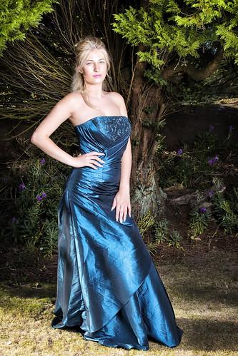 blue green dress satin blonde tree silk pose purple garden wexford