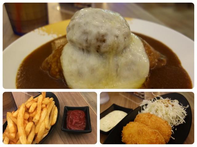 6盎司起司漢堡咖哩飯 (NTD$390)、黃金炸薯條 (NTD$80)、日式炸蝦排 (NTD$150)@大阪來的Izumi Curry南港CITYLINK店
