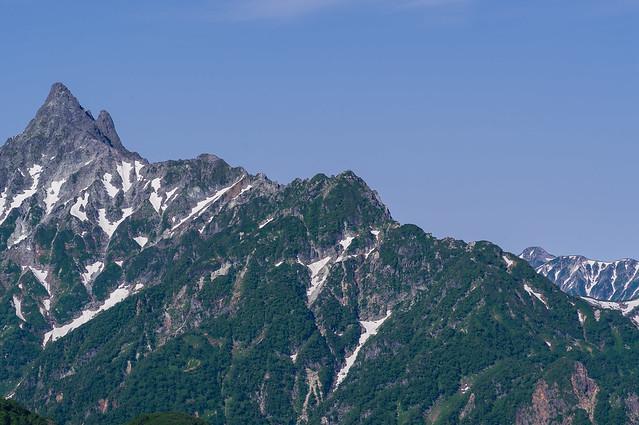 槍ケ岳の右奥に笠ヶ岳