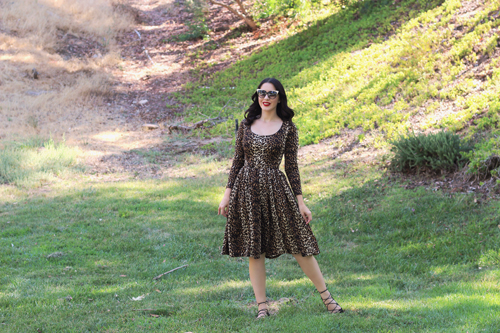 Vixen by Micheline Pitt Troublemaker Swing Dress in Leopard Print Southern California Belle