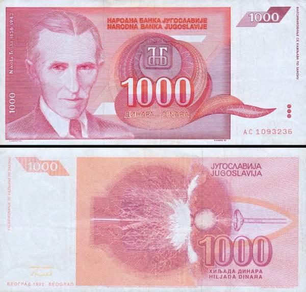 1000 Dinárov Juhoslávia 1992, P114