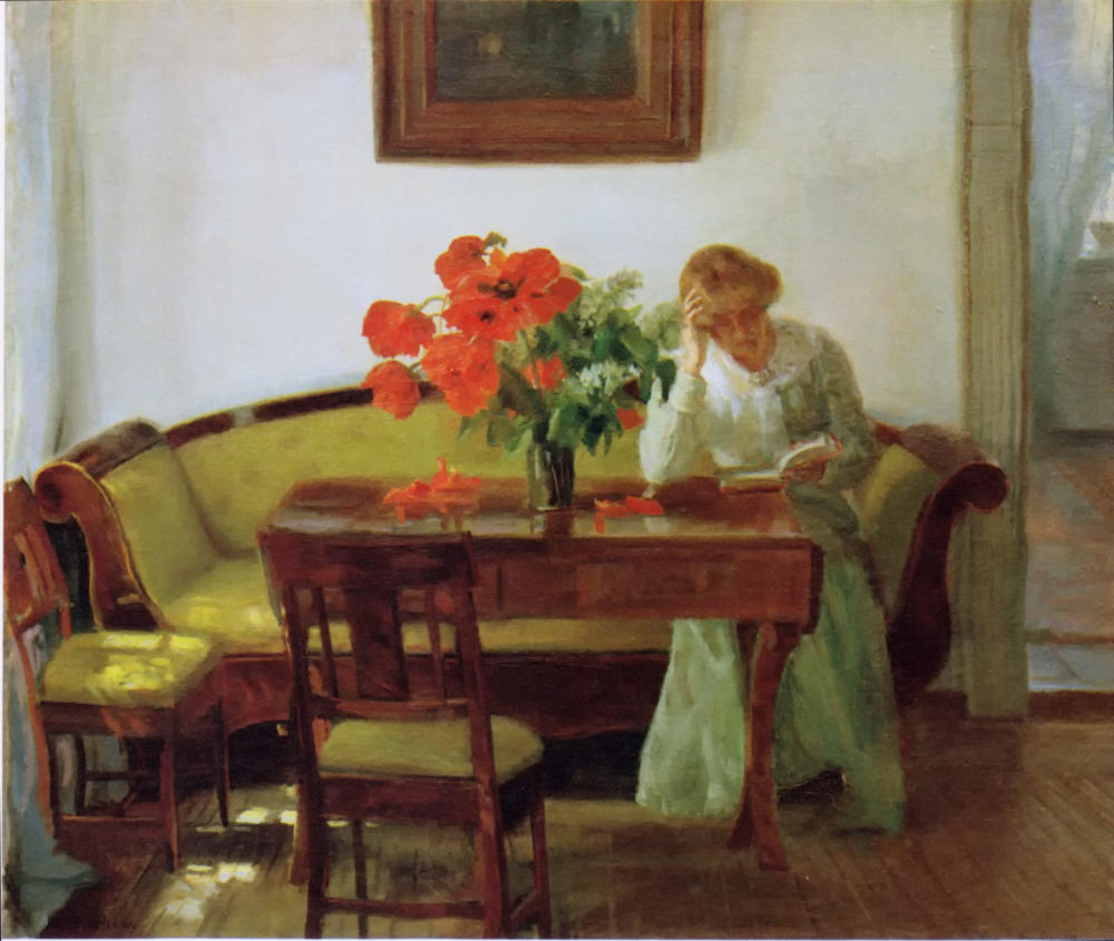 Interior with poppies and a woman reading by Anna Ancher, 1905