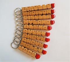 Oak Wood Heart-Fob Keychains