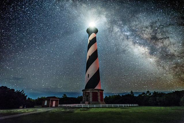 cape hatteras lighthouse and the milky way_