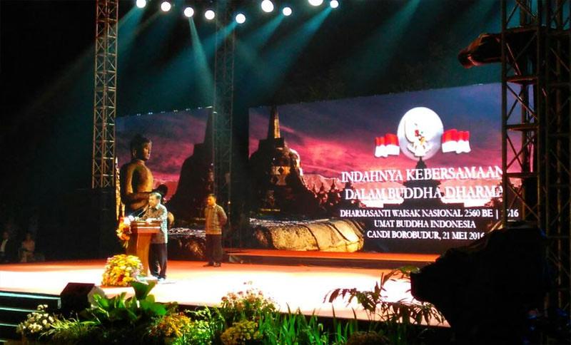 Wakil Presiden Jusuf Kalla dalam sambutannya di Dharmasanti Waisak Nasional 2560 EB /2016, Sabtu (21/5/2016).