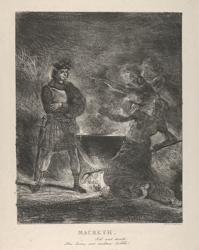 Eugene Delacroix - Macbeth Consulting the Witches, 1825