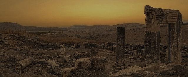 Sunset at ancient synagogue ruins, Mount Arbel, Israel