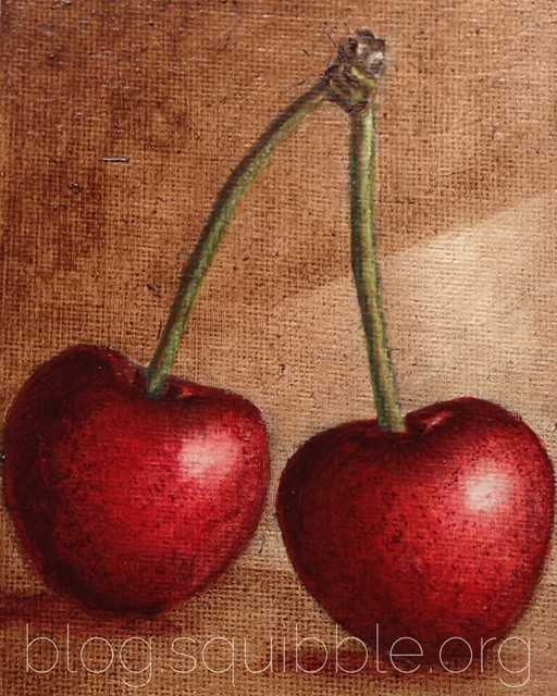 Squibble Design - Cherries Oil Painting - Brown Background