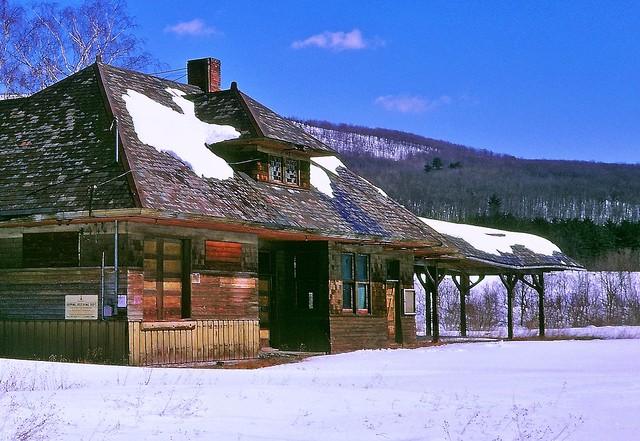 Abandoned NYO&W station, Summitville, NY, 1969