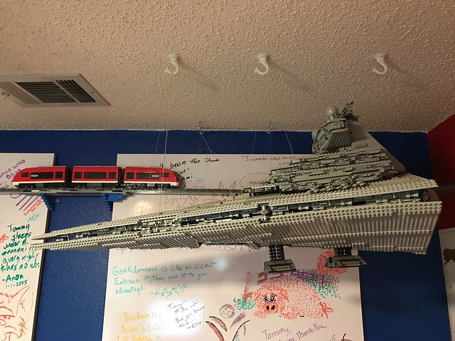 LEGO Star Destroyer hanging from the ceiling.