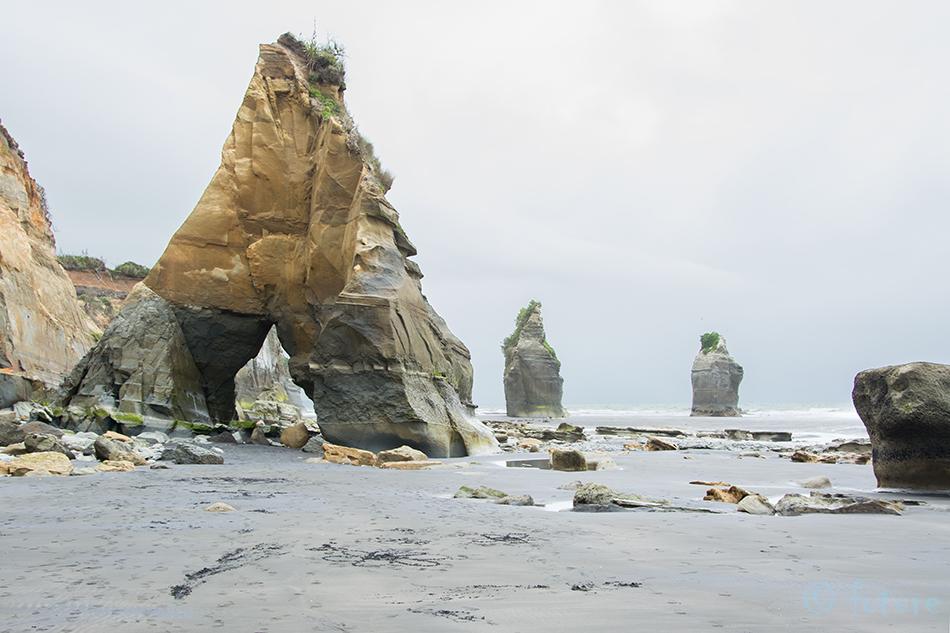 Three, Sisters, rock, formations, Taranaki, region, North, Island, New, Zealand, Tongaporutu, Kaido Rummel