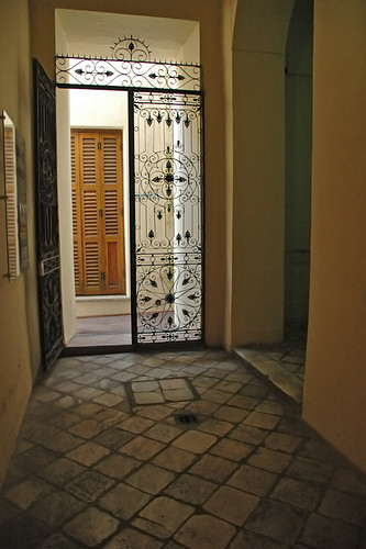 Entrance hall in Argentina with a wrought iron gate