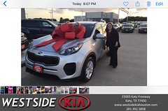 Happy Anniversary to Yasmin on your #Kia #Sportage from Luis Espinoza at Westside Kia!