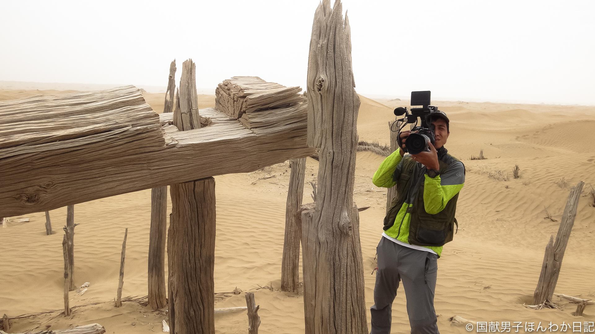 ニヤ遺跡92A11(スタインN8)を撮影する寧カメラマン(撮影:筆者)