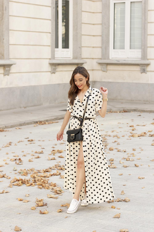 Maxi dress polka dots uterqüe converse givenchy bag summer outfit summer01