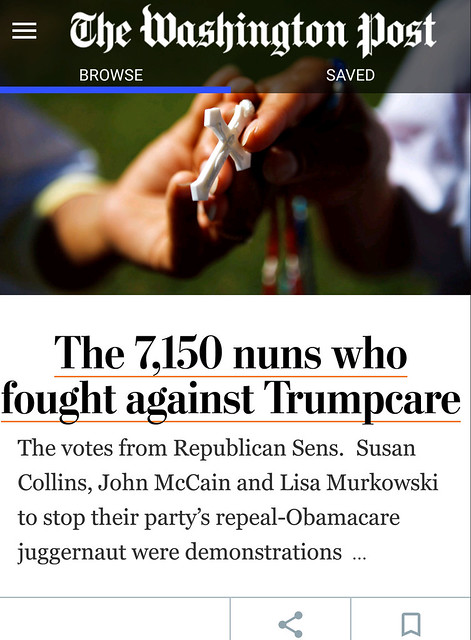 The 7150 nuns who fought against Trumpcare - from the Washington Post