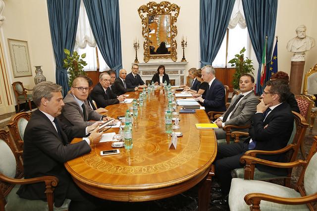 Incontro su STX FIncantieri tra i Ministri di Italia e Francia Pier Carlo Padoan, Carlo Calenda e Bruno Le Maire