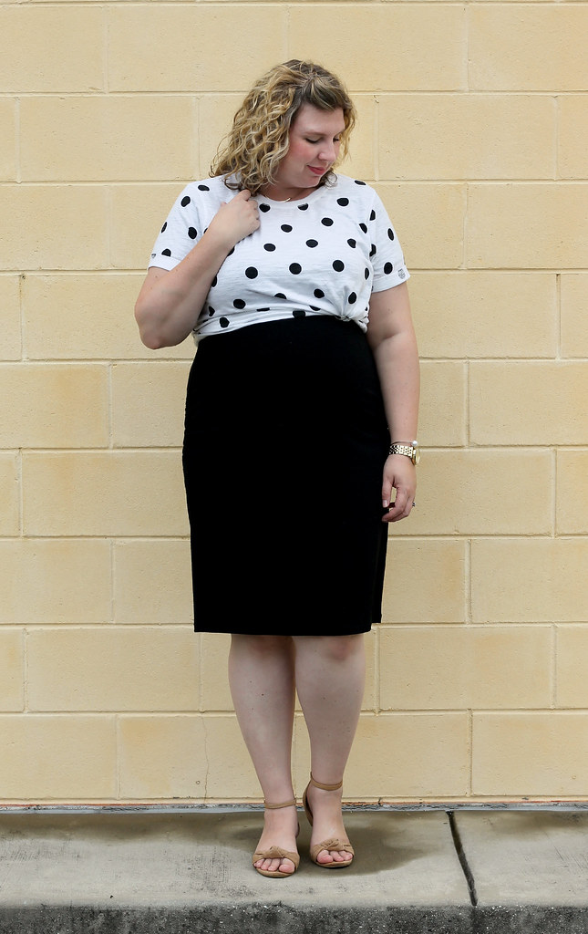 dot dot tee, maternity black dress, wedge sandals 3