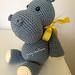 Gray and Yellow Hippo Amigurumi with Ribbon