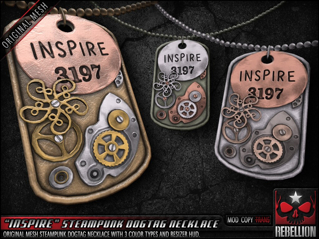 "= REBELLION = ""INSPIRE"" STEAMPUNK DOGTAG NECKLACE - SecondLifeHub.com"