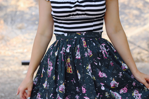 Kitschy Witch Designs by Stephanie Buscema Mystery Action Robo-Love Skirt