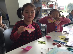 Joy and Gisele with their bookmarks