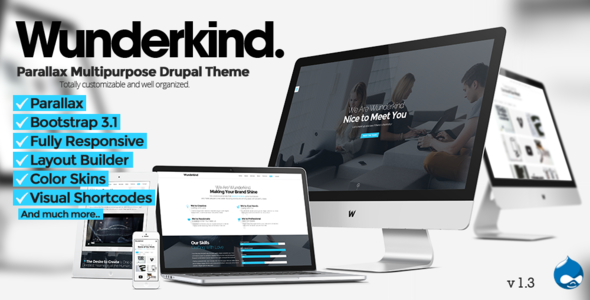 Wunderkind v1.3 – One Page Parallax Drupal 7 Theme