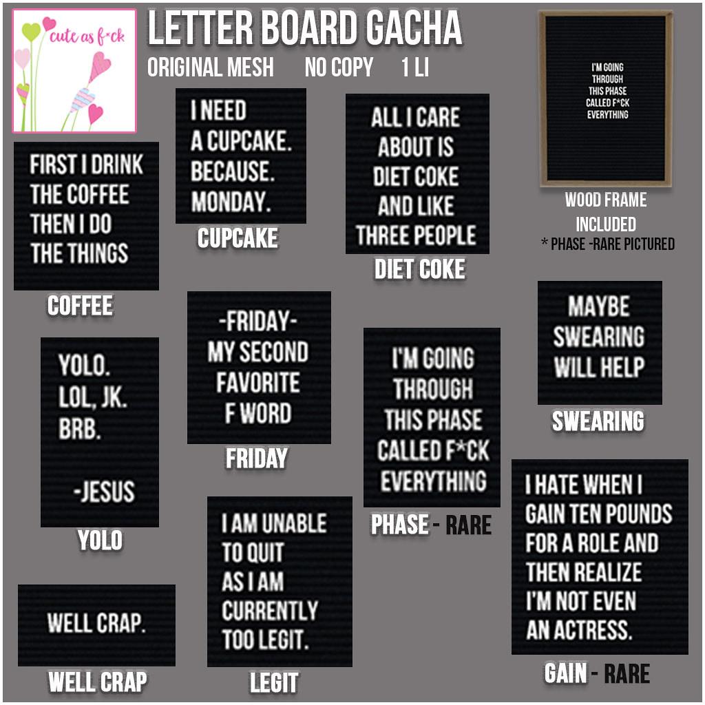 ::cute as f*ck:: Letter Board Gacha Key - SecondLifeHub.com