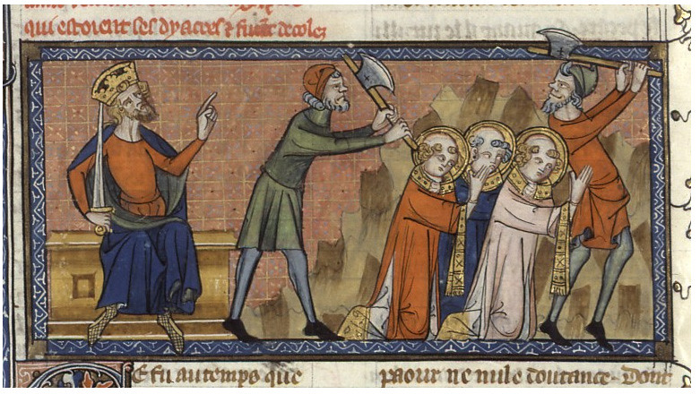 The martyrdom of Pope Sixtus II, beheaded upon orders of Emperor Valerian