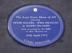 Photo of Peter Sellers, Spike Milligan, Harry Secombe, and The Goon Show blue plaque