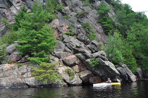 Kayaking under untold tons of rock, Bon Echo
