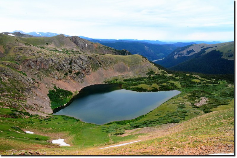 Looking down at Heart Lake from the Continental Divide 1
