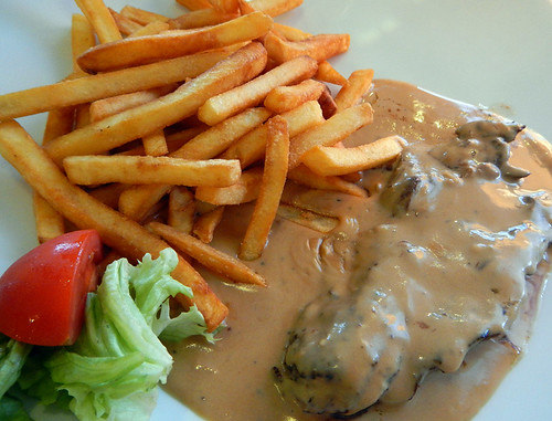 Dinner of Steak & Frites in Dieppe, France
