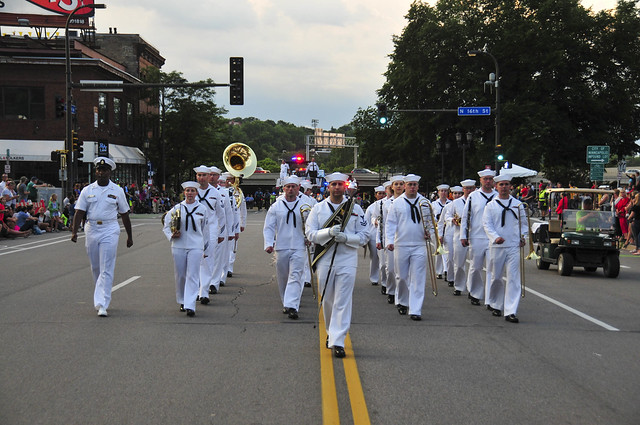 The Navy Band Great Lakes Parade Band march through Minneapolis.