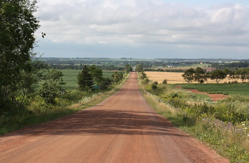 shamrock pei canada dirt clay road countyline view
