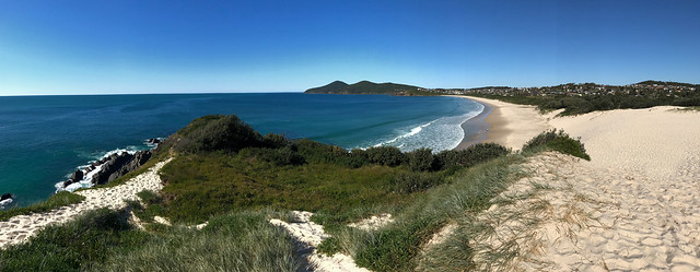 View to Cape Hawke along One Mile Beach, Forster, NSW