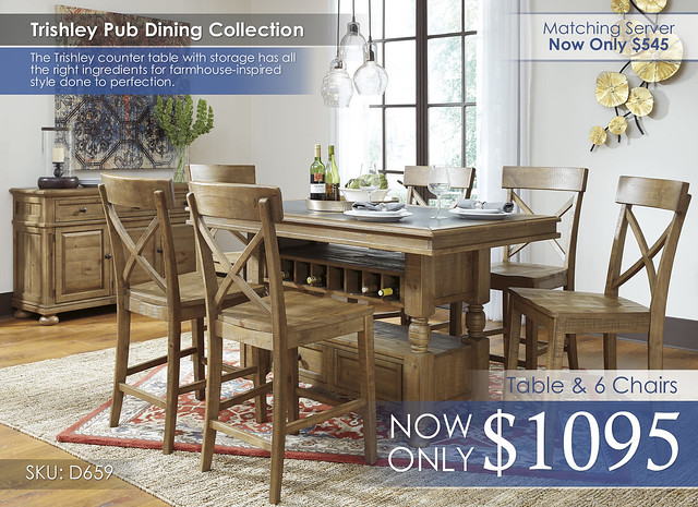 Trishley 6 Chair Dining Pub Set D659-32-124(6)-60-R40185