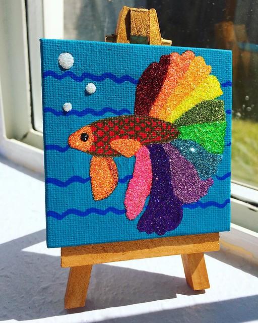 "New miniature painting in my Etsy shop! ""Glitter Betta Fish"". ✨✨✨"