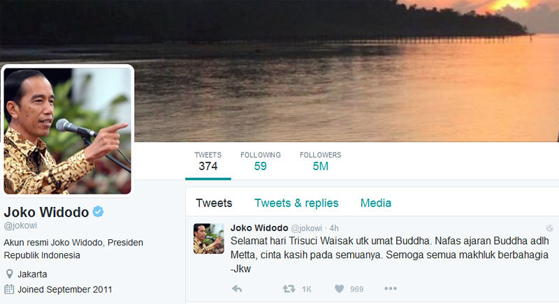 Twitter Presiden Joko Widodo.