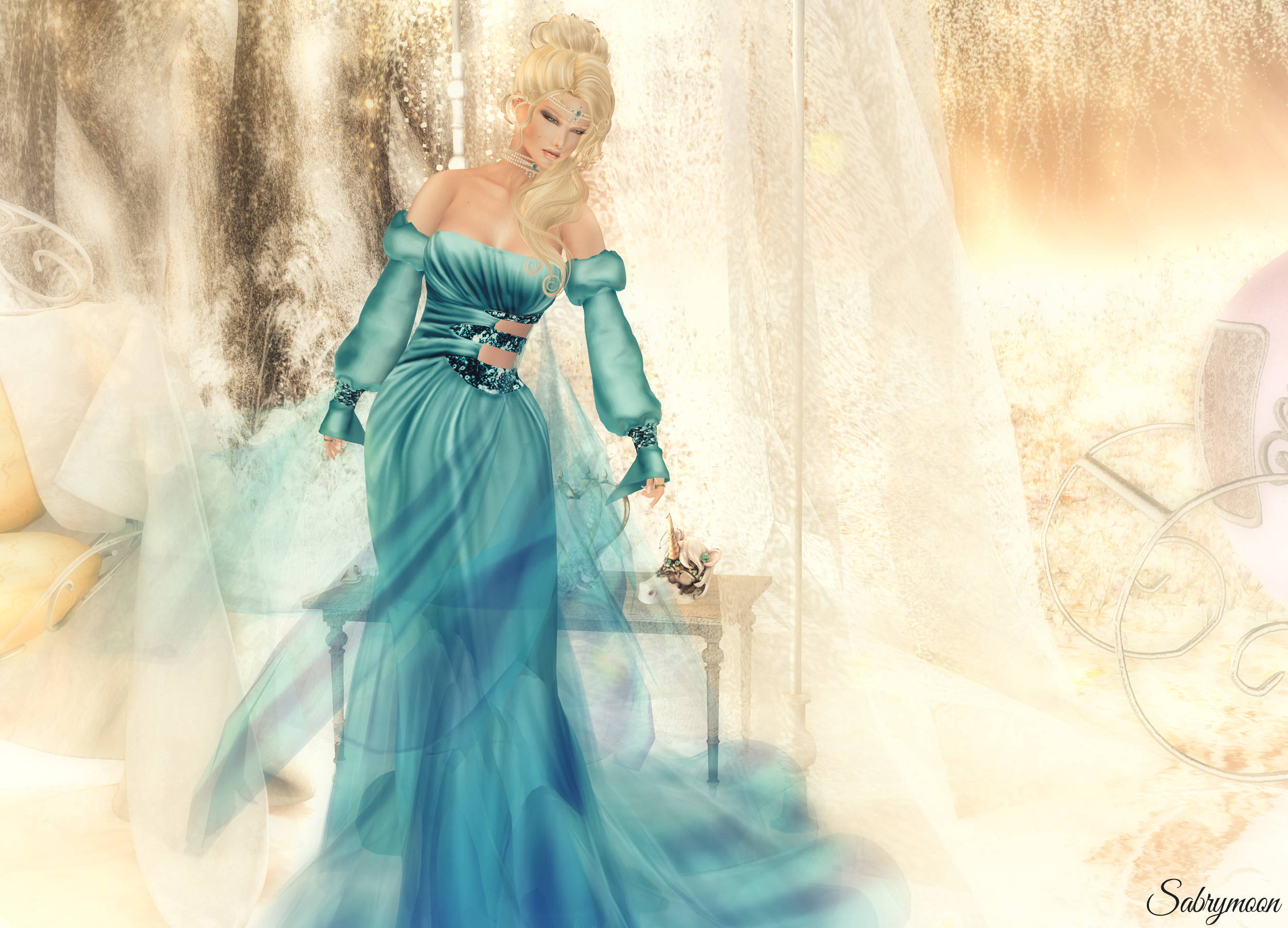 Sabrymoon wearing -AZUL- Maile Aqua Dress Exile First Dance Hair LW: Poses Do not Judge pose