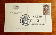 Postcard with Smokey Bear stamp