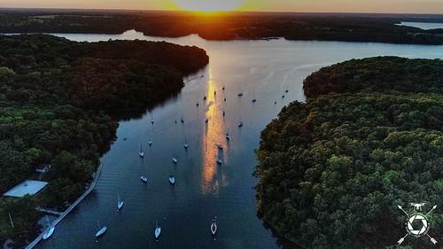 sailboats sunset mo missouri coultonthomas dji aerial phantom water lake drone