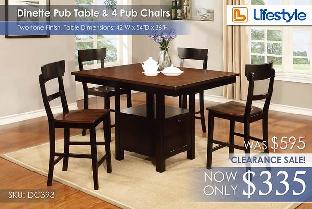 Lifestyle Pub Dinette Set DC393 CLEARANCE