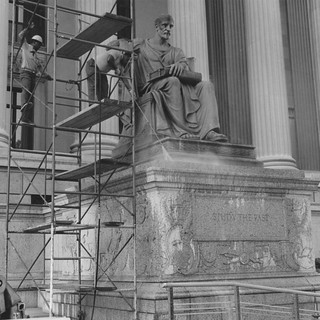 Photograph of the Cleaning of Statues at Pennsylvania Avenue Entrance