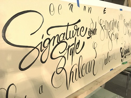 One of the practice boards from the busy Script Lettering class.