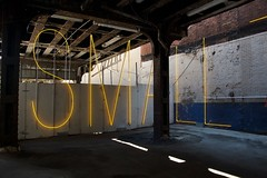 """Marton Creed's """"Small Things"""" neon art in Chelsea under the High Line."""