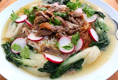 "ROAST DUCK – PART TWO – ""DUCK SOUP WITH RICE STICKS AND BABY BOK CHOY"""