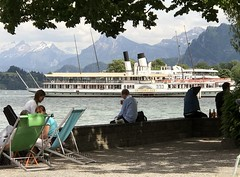 The alps, cruise boat, and Lake Luzern