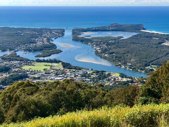 View over Laurieton North Haven & Dunbogan from North Brother Mountain, Dooragan National Park, NSW